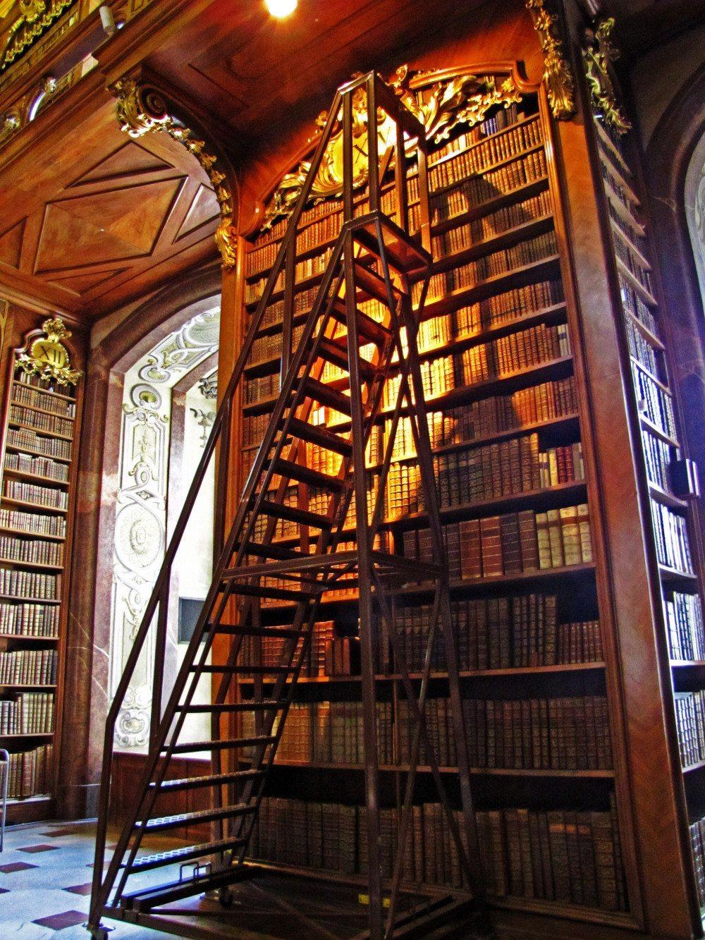 Bei solch hohen Regalen wie in dieser Bibliothek braucht man geeignete Steigtechnik, um sich von ganz oben zu bedienen. (Bild: Rainer Sturm / pixelio.de)