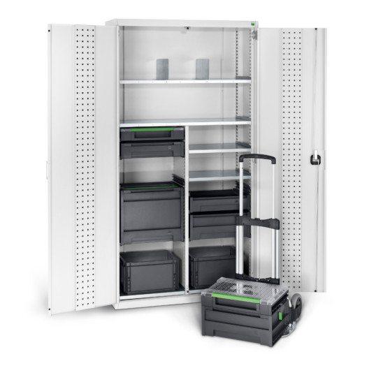 cubio Systemschrank mit varioSafe und varioSort Koffern von bott (Bild: © Bott GmbH & Co. KG)