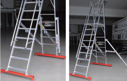 Die fahrbaren Podestleitern sorgen für sicheres Arbeiten in der Höhe. (Bildquelle: Primus Transportgeräte AG)