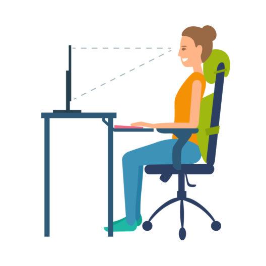 Korrekte Sitzposition am Schreibtisch (Bild: Lilanakani - shutterstock.com)